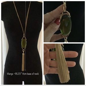 Statement necklace- green / gold